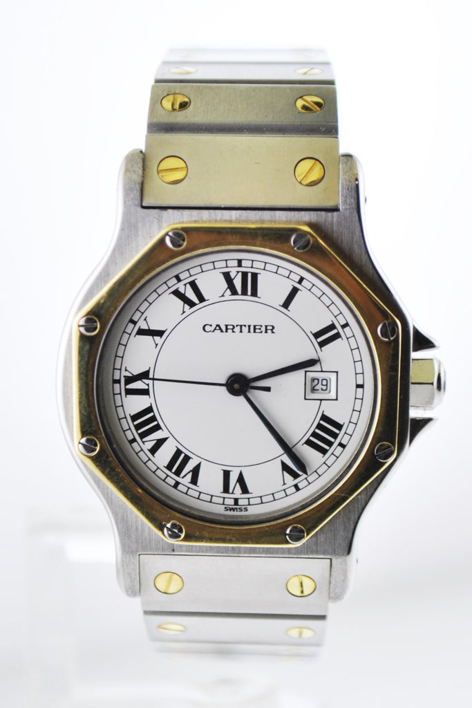Cartier Santos Two-Tone Octagonal Wristwatch Automatic in 18K Yellow Gold and Stainless Steel - $10K VALUE