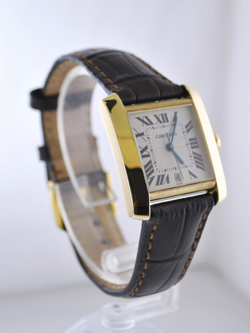 Vintage Cartier Tank Francaise Original 1840 Wristwatch 18K Yellow Gold Water Resistant Leather Strap - $13K VALUE