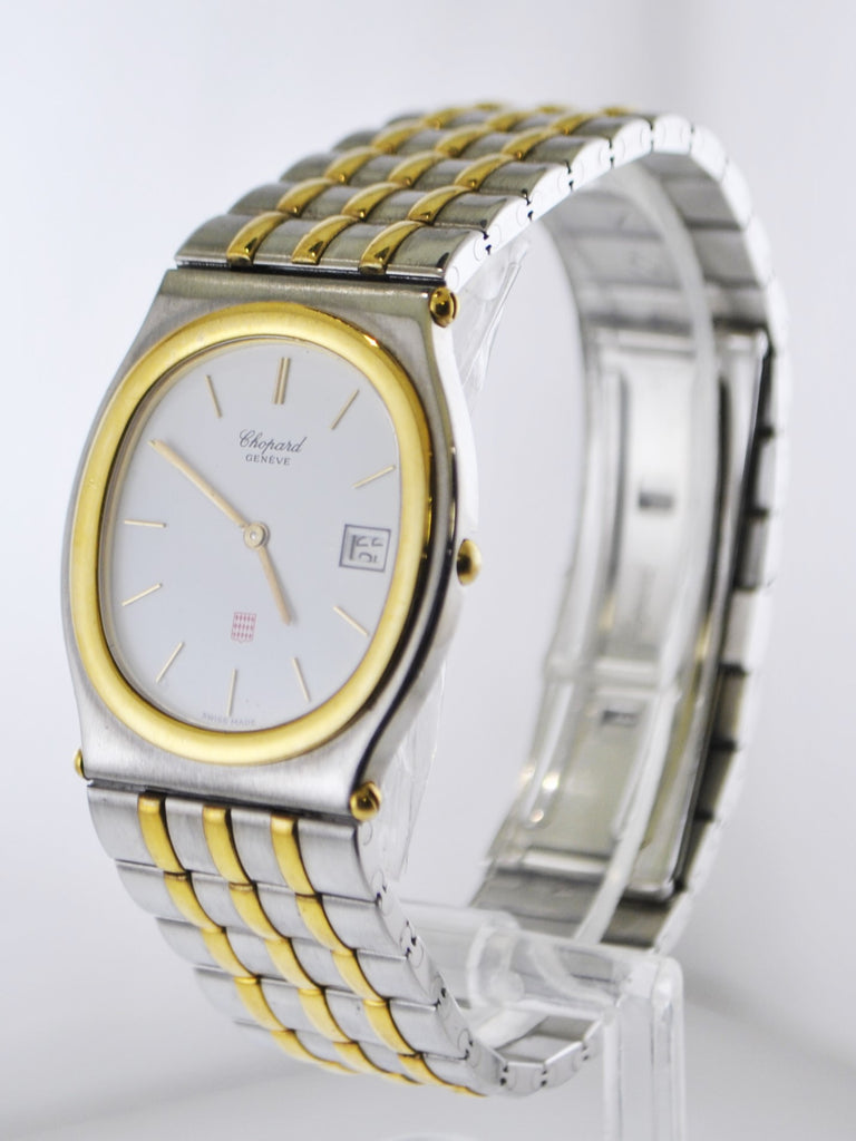 Vintage Chopard Monte Carlo Ref.#8035 Oval Wristwatch Two-Tone Stainless Steel and Yellow Gold Tone Oyster Bracelet - $13K VALUE