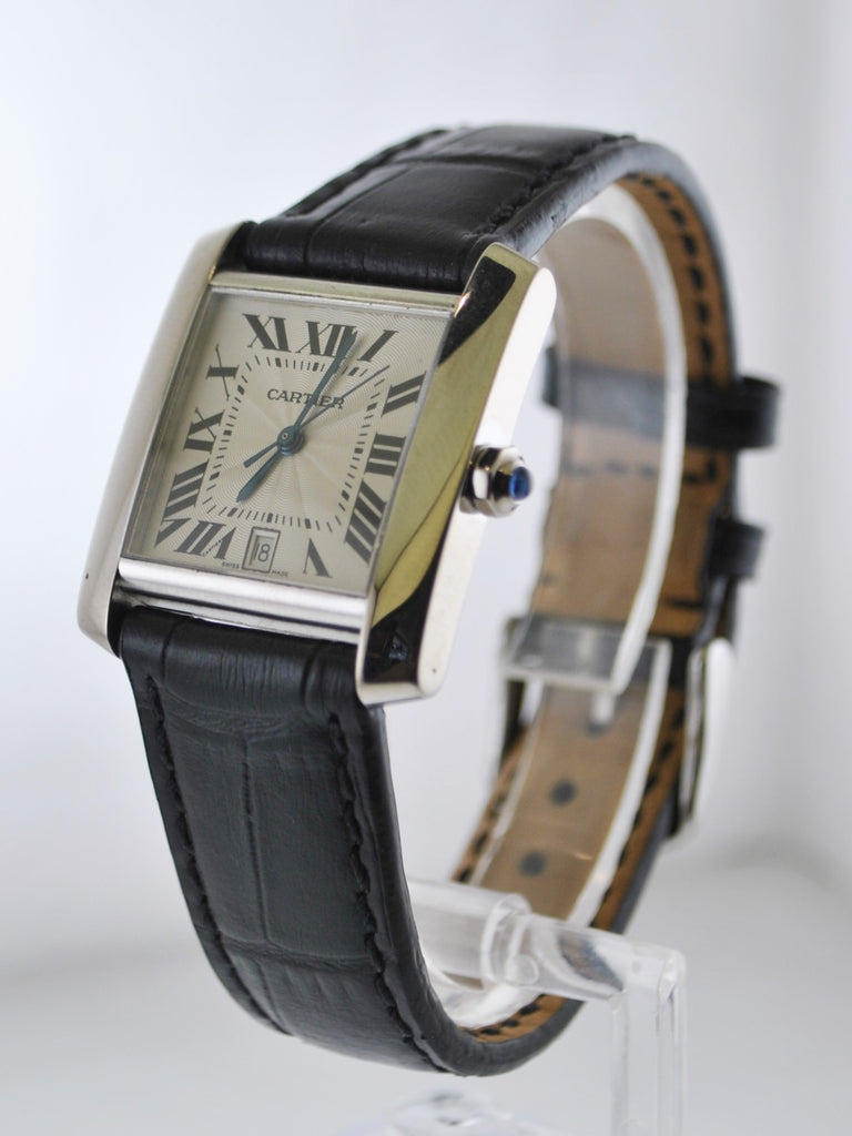 Vintage Cartier Tank Francaise Original 2366 Wristwatch 18K White Gold Water Resistant - $15K VALUE