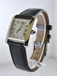CARTIER Vintage Tank Francaise #2366 18K White Gold Wristwatch - $15K VALUE!