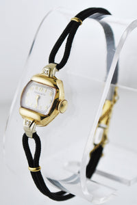 TIFFANY & CO. Solid YG Vintage Rhombus Wristwatch on Black Rope Strap - $6K VALUE