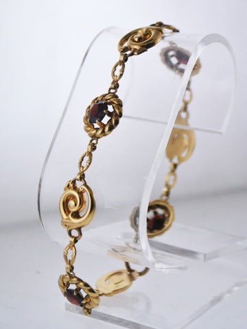 Designer's Garnet Tennis Bracelet Rare Design C. 2000's in Solid Yellow Gold - $4K VALUE