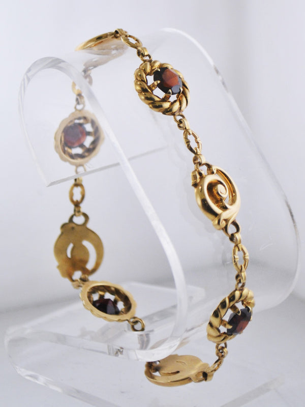 Designer Floral Garnet Tennis Bracelet in Solid Yellow Gold - $4K APR Value w/ CoA!