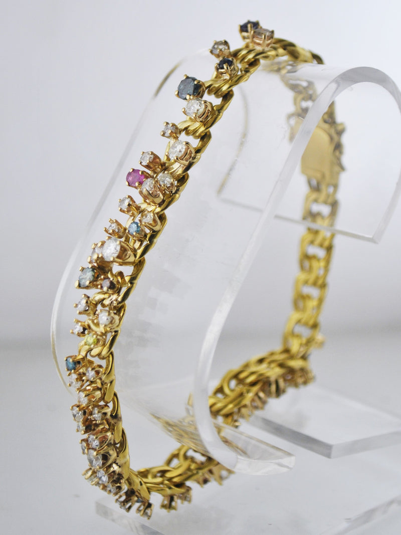 Designer Solid Yellow Gold Diamond Chain-Style Bracelet with Multicolored Gem-Stones - $25K APR Value w/ CoA!