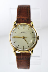 TIFFANY & CO. Rare 18K Yellow Gold Round Mechanical Wristwatch on Brown Leather Strap - $10K VALUE