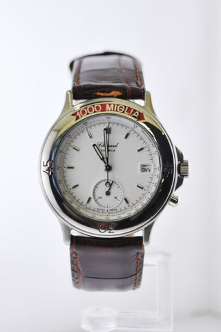 Chopard 1000 Miglia Ref. #8141 Quartz Chronograph Wristwatch Stainless Steel Brown Leather Strap - $10K VALUE