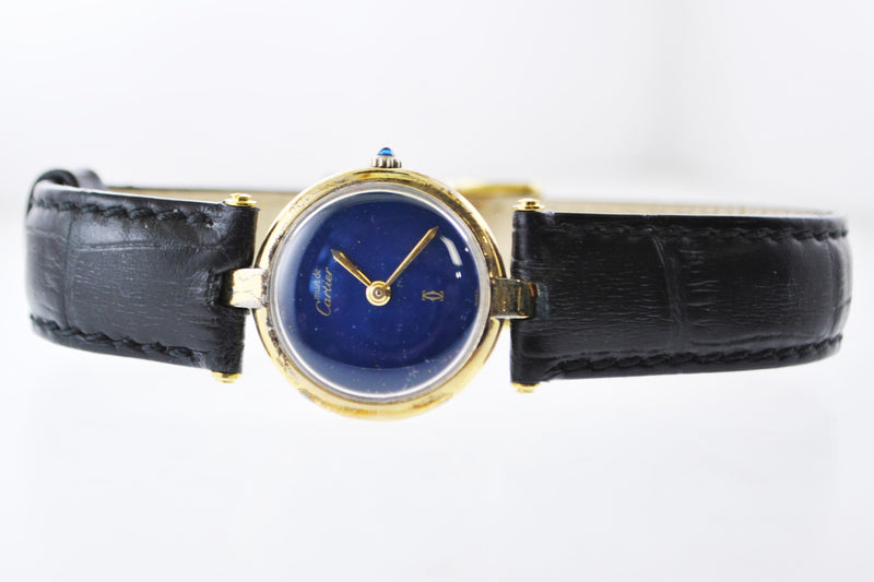 CARTIER Must de Cartier Vintage YG Round Wristwatch w/ Sapphire Style Face - $8K VALUE