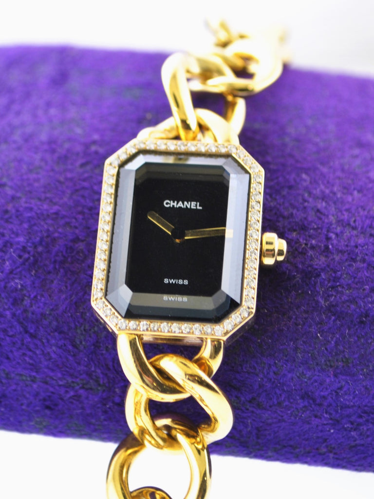 1987 Chanel Premiere H3259 Ladies Rectangle Wristwatch Diamond in 18 Karat Yellow Gold on Original Chain Bracelet - $30K VALUE