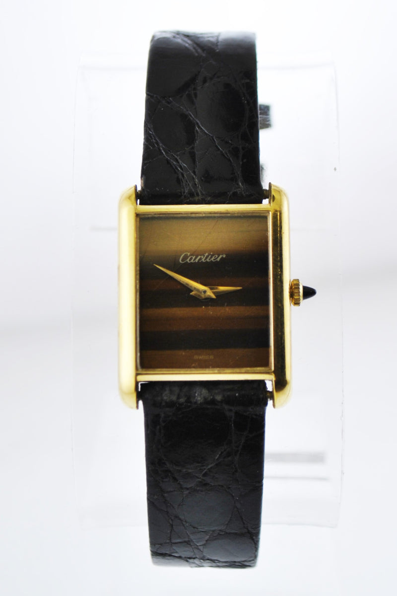 CARTIER Must de Cartier Rare YG Rectangle Wristwatch w/ Tiger Eye Style Dial - $4K VALUE