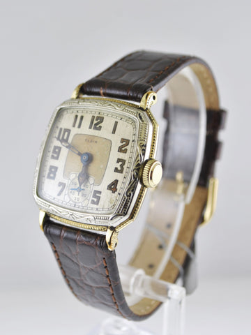 1930s Elgin Vintage Art-Deco Men's Wristwatch in Two Tone - $4K VALUE