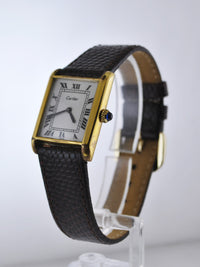 1960's Cartier Classic Vintage Men's Wristwatch Gold Tone on Brown Leather Strap - $6K VALUE