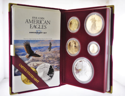 1995 W Gold American Eagle 10th Anniversary Set Gem-Proof 5 Coins w/COA, Original Box - $12K VALUE
