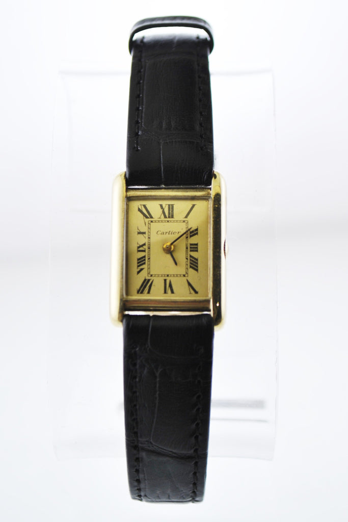 Cartier Tank Mechanic Wristwatch Rectangle Case w/Sub-dial in Solid Yellow Gold - $20K VALUE