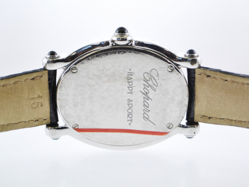 Chopard Happy Sport Floating Diamond Ladies Oval Wristwatch Ref.#8937 in Stainless Steel on Leather Strap - $35K VALUE
