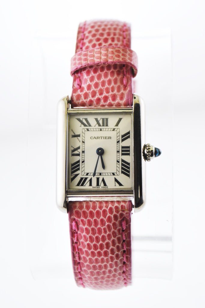 Cartier Tank Quartz Wristwatch Rectangle Triple Signed in 18K White Gold on Pink Leather Strap - $12K VALUE