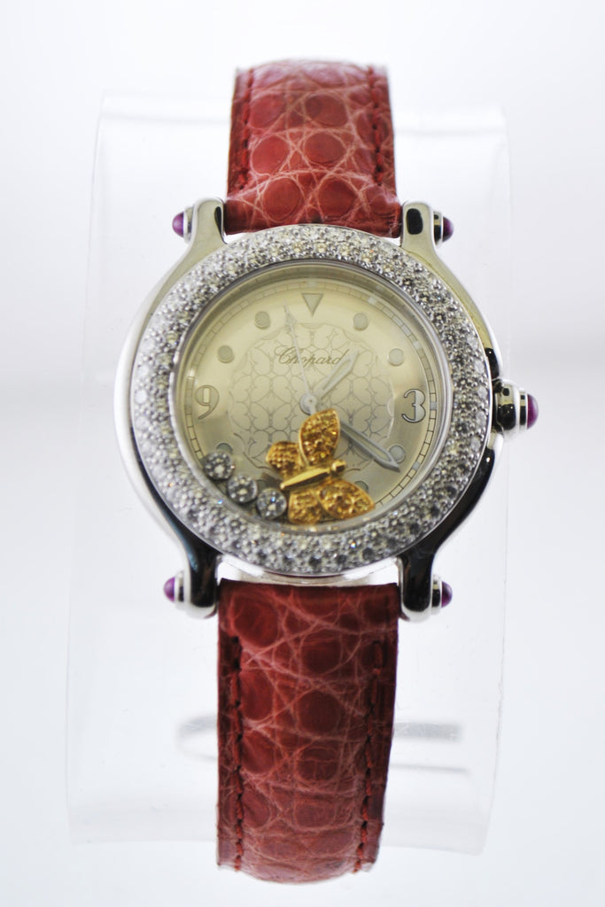Chopard Happy Sport 27/8935-42 Floating Butterfly Diamond Ladies Round Wristwatch in Stainless Steel - $35K VALUE
