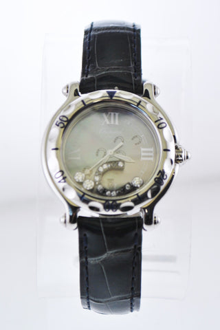 Chopard Happy Sport 27/8423 Floating Horseshoe Diamond Ladies Round Wristwatch in Stainless Steel - $16K VALUE
