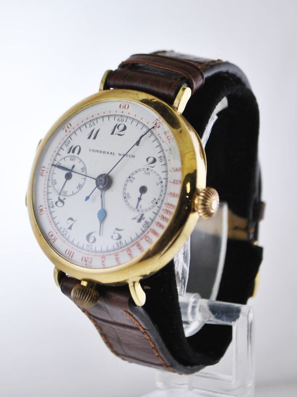 1920's Universal Watch Chronograph Stopwatch on Brown Leather Strap 18 Karat Yellow Gold - $30K VALUE