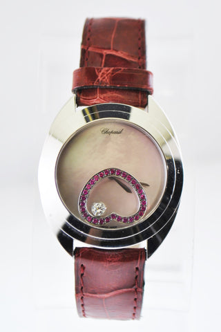 Chopard Happy Spirit Floating Diamond Ruby Heart Ladies Wristwatch in 18 Karat White Gold - $35K VALUE