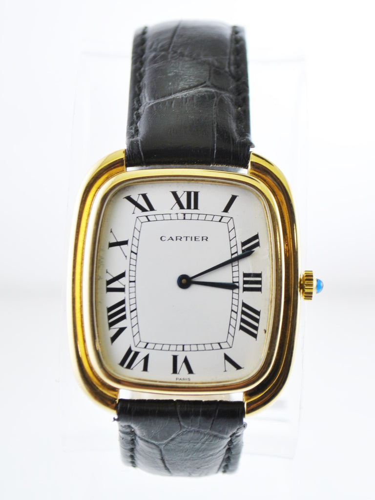 Cartier Jumbo Cushion Mechanic Wristwatch on Black Leather Strap in 18 Karat Yellow Gold - $30K VALUE