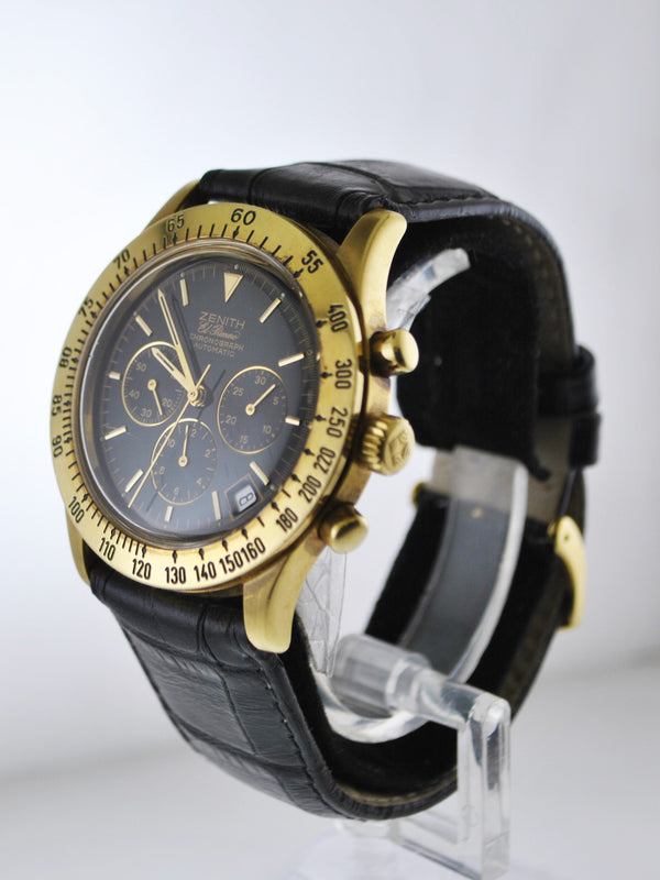 Zenith El Primero Chronograph Automatic Wristwatch Black Face 18 Karat Yellow Gold - $20K VALUE
