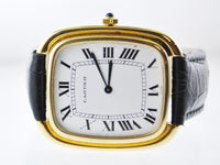 CARTIER Jumbo Cushion 18K Yellow Gold Wristwatch on Black Leather Strap - $30K VALUE