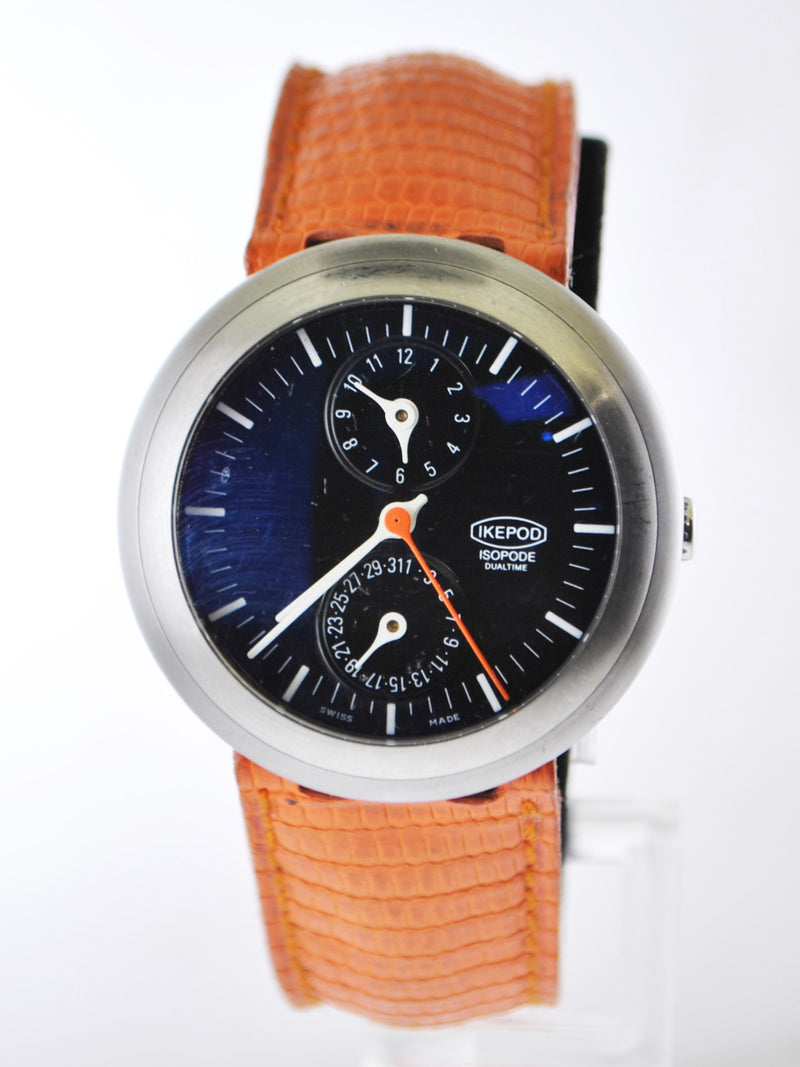 Ikepod Isopode Dual-time Chronometer Men's Wristwatch Mark Newson Design in Stainless Steel on Orange Strap - $15K VALUE
