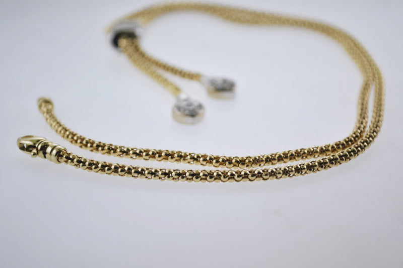 Contemporary Diamond Necklace Pendant Appr. +3 TCW on Popcorn Chain in Solid Yellow Gold - $10K VALUE