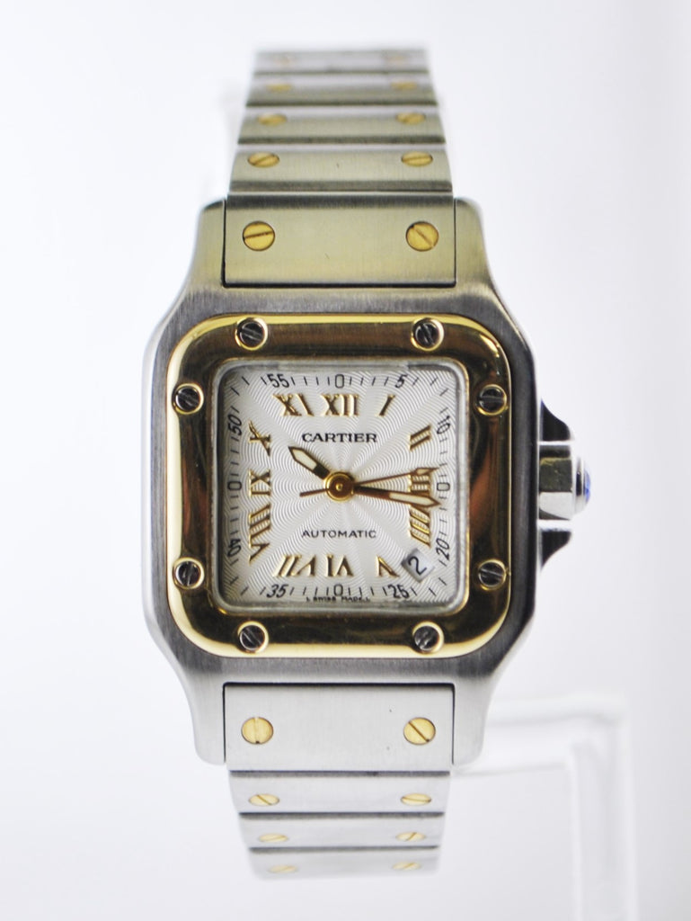 Cartier Santos #2423 Two-Tone Square Wristwatch Automatic in Yellow Gold and Stainless Steel - $10K VALUE