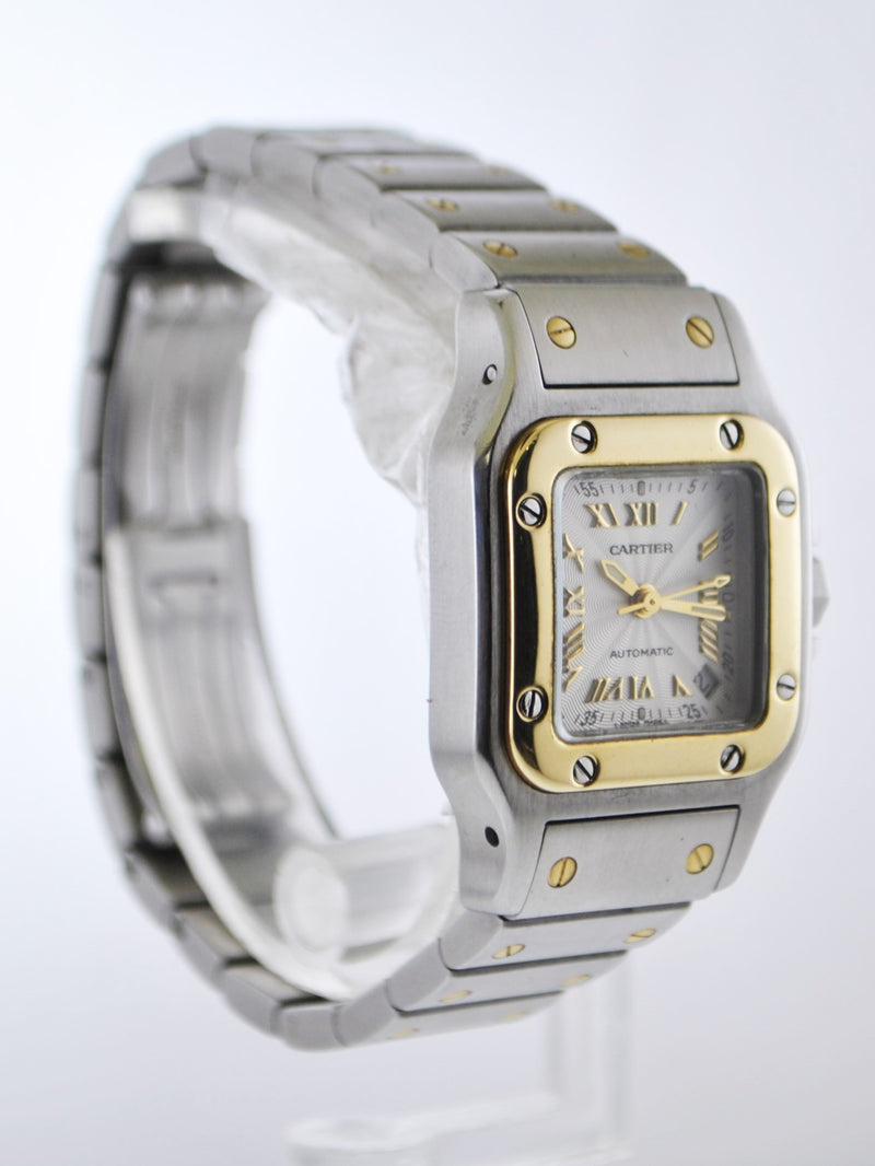 CARTIER Santos #2423 Two-Tone Square YG & SS Automatic Wristwatch - $10K VALUE!