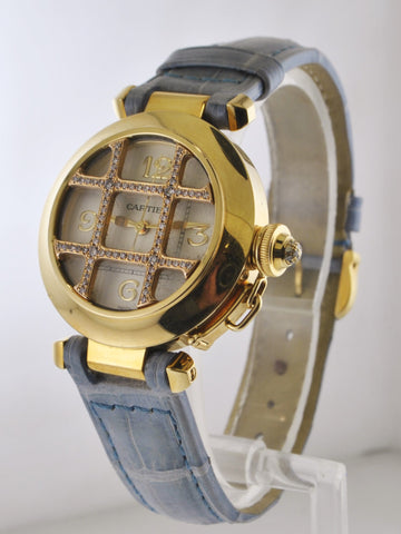 2000's Cartier Pasha Grill 2399 Wristwatch in 18 Karat Yellow Gold & Diamonds Water Resistant - $25K VALUE