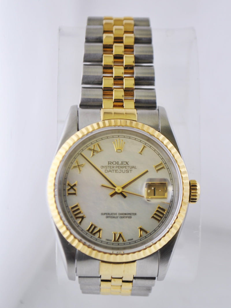 Rolex Oyster Perpetual Datejust Men's Wristwatch Mother of Pearl Dial Two-tone in 18 Karat Yellow Gold & Stainless Steel - $16K VALUE