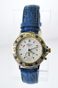 Chopard Mille Miglia Wristwatch Diamond and Sapphire Bezel in 18 Karat Yellow Gold and Steel - $15K VALUE