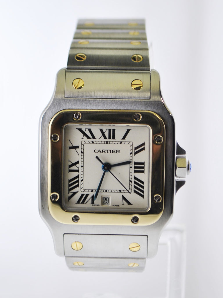 Cartier Santos #1566 Two-Tone Square Wristwatch Quartz in 18 Karat Yellow Gold and Stainless Steel - $10K VALUE
