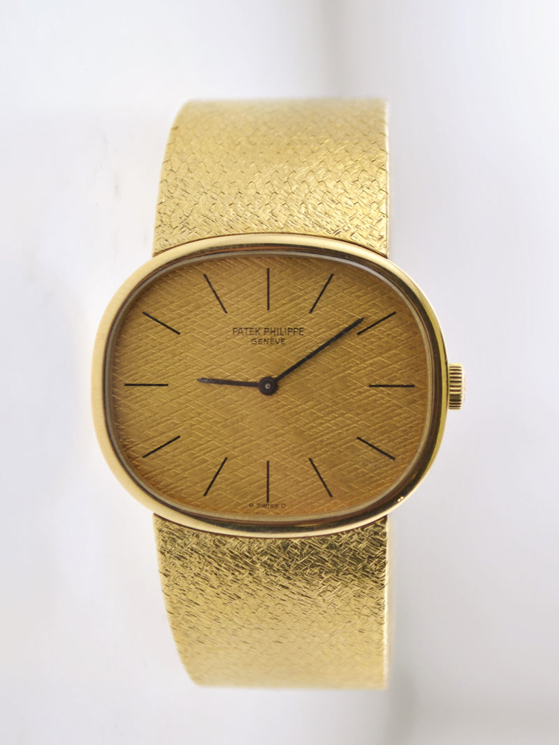 1970's Patek Philippe Oval Wristwatch w/ Original Bracelet in 18 Karat Yellow Gold - $50K VALUE