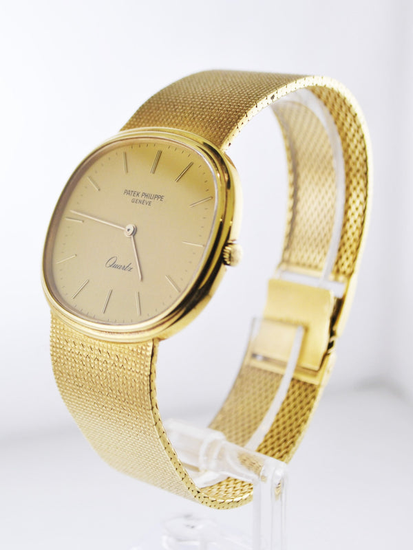 1970's Patek Philippe Oval Men's Wristwatch w/ Original Silk Style Bracelet in 18 Karat Yellow Gold - $50K VALUE