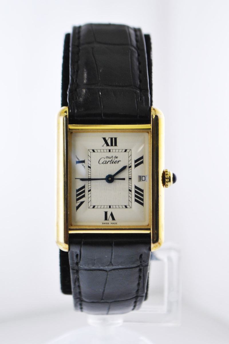 Cartier Must de Cartier #2413 Rectangle Quartz Wristwatch Water Resistant Date in Gold Plated Sterling Silver - $6K VALUE