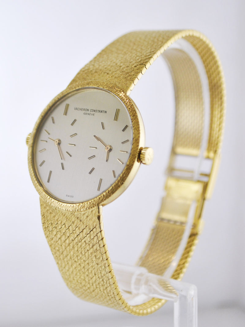 Vintage Vacheron Constantin ref 2088 Dual-Time Men's Wristwatch on Original Bracelet in 18 Karat Yellow Gold - $40K VALUE