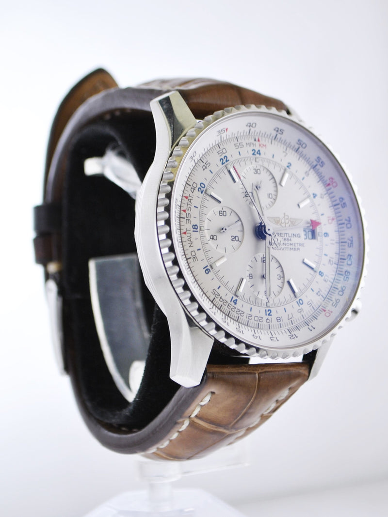 Breitling Chronometre Navitimer World Watch on Original Brown Leather Strap Stainless Steel - $13K VALUE