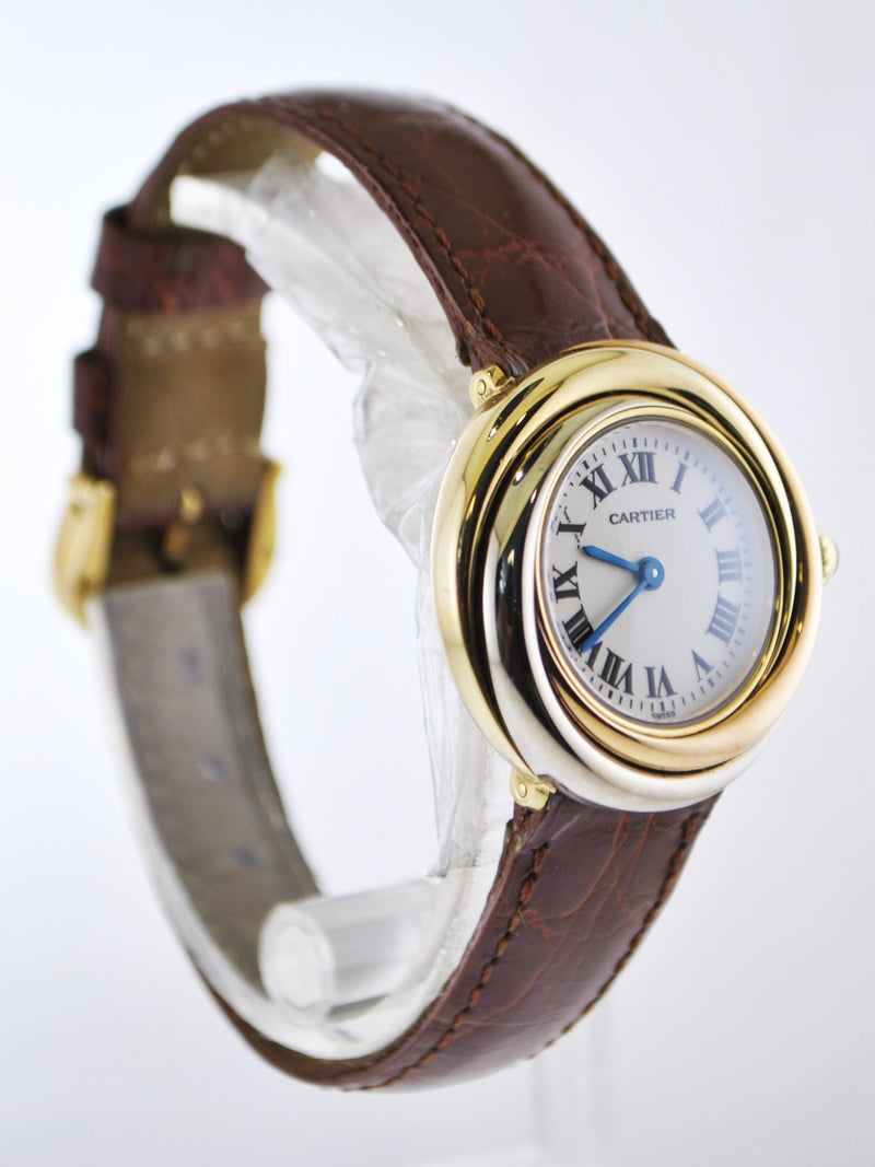 CARTIER Trinity 18K Yellow, Rose, & White Gold Wristwatch on Brown Strap, #2357 - $20K VALUE