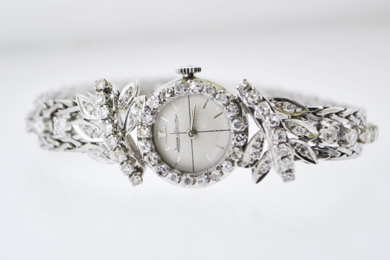 Jaeger LeCoultre Ladies Diamond Wristwatch Small Mechanic Round Case +3 TCW in 18 Karat White Gold - $15K VALUE