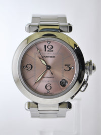 CARTIER Pasha de Cartier #2324 Automatic Wristwatch Pink Dial Link Bracelet in Stainless Steel - $9K VALUE