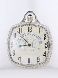 1920's Waltham Pocket Watch Ultra Thin Platinum with Skeleton Back Cushion-Shaped Diamond Bezel Engraved 17J - $20K VALUE
