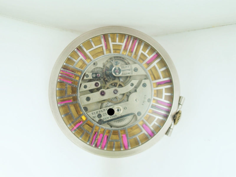 1920s Tiffany & Co. Rare Pocket Watch Mechanism Exhibition with 20 Rubies in 18K WG - $50K VALUE, w/Cert!