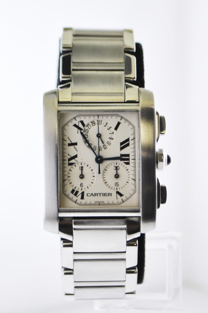 Cartier Francaise #2303 Quartz Wristwatch Rectangle Case Chronograph in Stainless Steel - $12K VALUE
