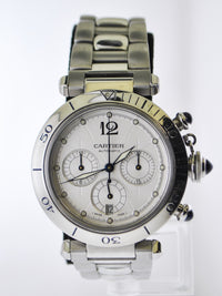 Pasha de Cartier #2113 Chronograph Automatic Wristwatch Silver Style Dial Link Bracelet in Stainless Steel - $15K VALUE