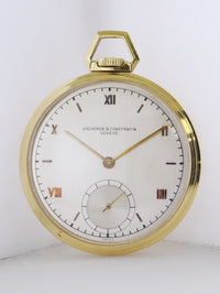 1950's Vacheron Constantin Pocket Watch Ultra Thin Yellow Gold Triple Signed - $30K VALUE