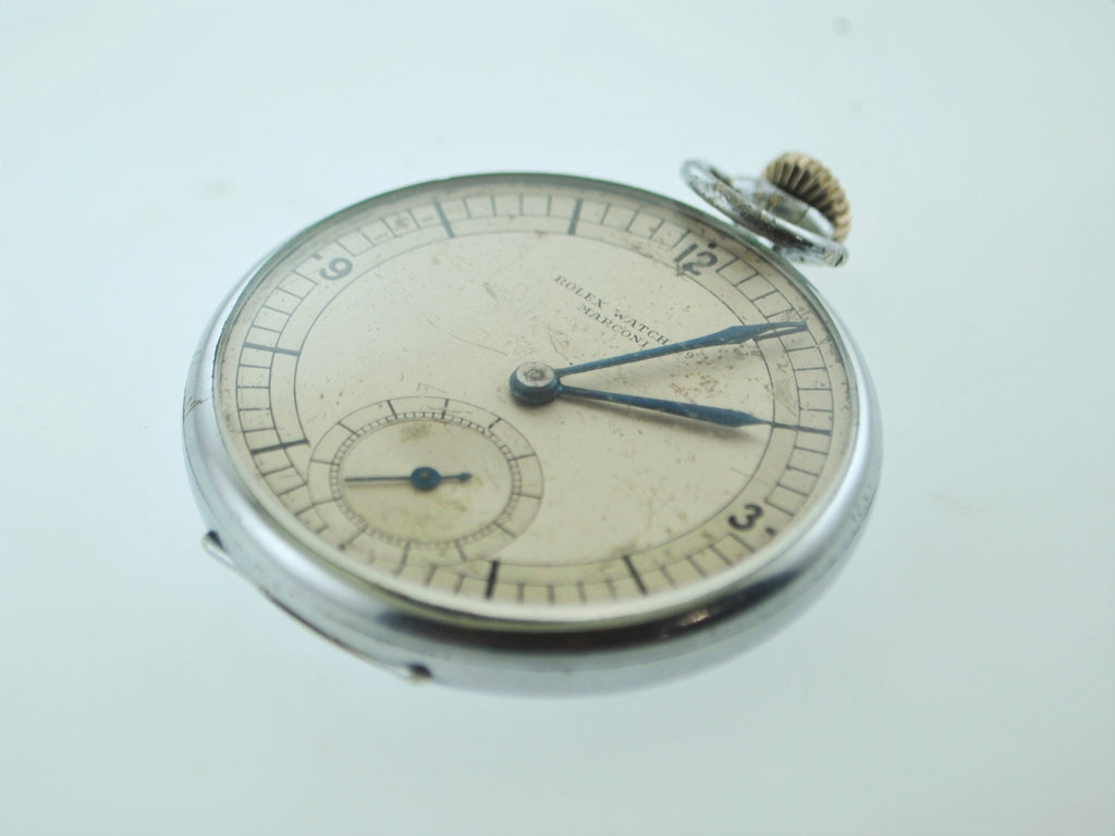1920's Rare Rolex Marconi Pocket Watch Stainless Steel 15J Engraved - $20K VALUE