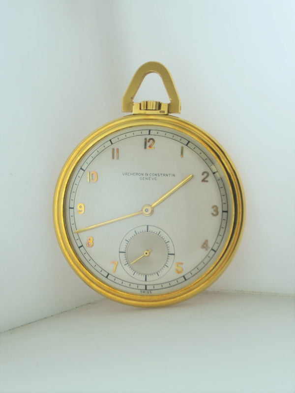 1950s Vacheron Constantin Pocket Watch Rare Vintage 18K YG $30K VALUE, w/Cert!